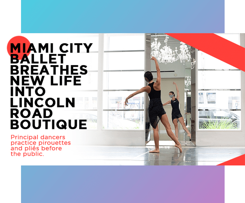 Graphic for newsletter article for the city of miami ballet